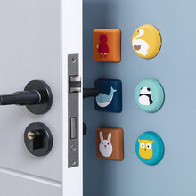 Bonito dos desenhos animados bloqueio protetor de proteção almofada de impacto da porta protetor de parede porta rolha maçaneta da almofada de borracha saborear choque bater fender
