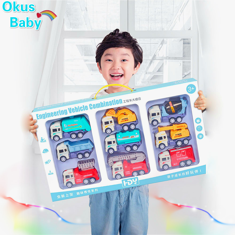 2019 Super Gift Baby Toy Car Inertial Taxiway Engineering Car Children Excavator Fire Car Mixer Set