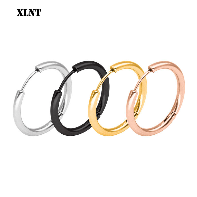XLNT 1 Pair Small Hoop Earrings Stainless Steel Circle Round Huggie Hoop Earrings For Women Men Ear Ring Ear Bone Buckle