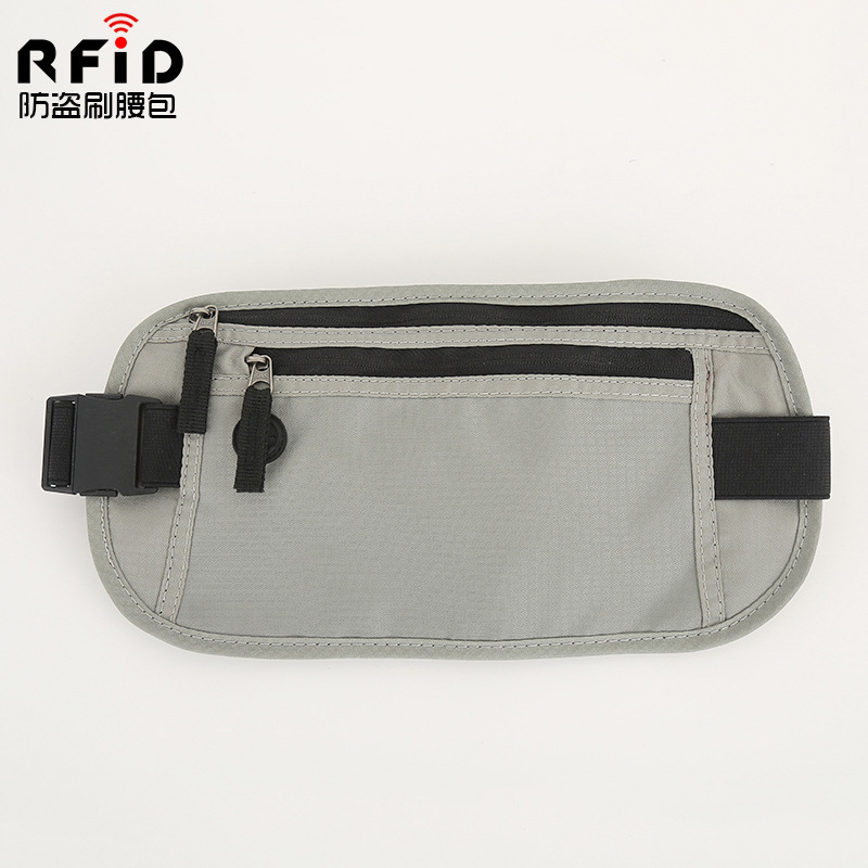 RFID Anti-Theft Card Swiping Bag Radiation Protected Wallet Outdoor Sports Body Hugging Multi-functional Canvas Waist Pack Mobil