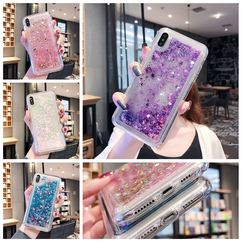 Case for samsung J4 J6 Plus j3 j4 j6 j7 j8 2018 <font><b>j5</b></font> j7 Prime J310 <font><b>510</b></font> 710 J330 530 730 Pro Glitter liquid quicksand Phone cases image
