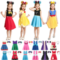 Летнее платье для девочек VOGUEON, Белоснежное платье, модная одежда для маленьких девочек, платья принцессы Белль, Анна, Эльза, Моана, Рапунцел...