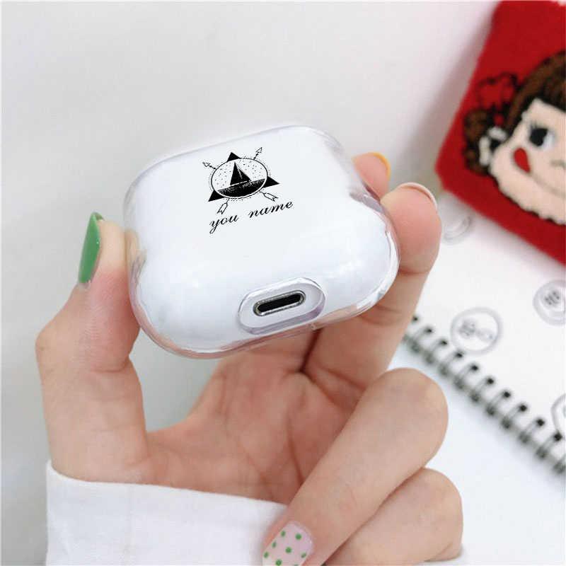 FAI DA TE Custodia Morbida Per Apple airpods 1/2 Caso di Lusso Mountain FAI DA TE Personalizzazione Nome Testo Aria Baccelli 1/2 Caso in Trasduttore Auricolare accessori