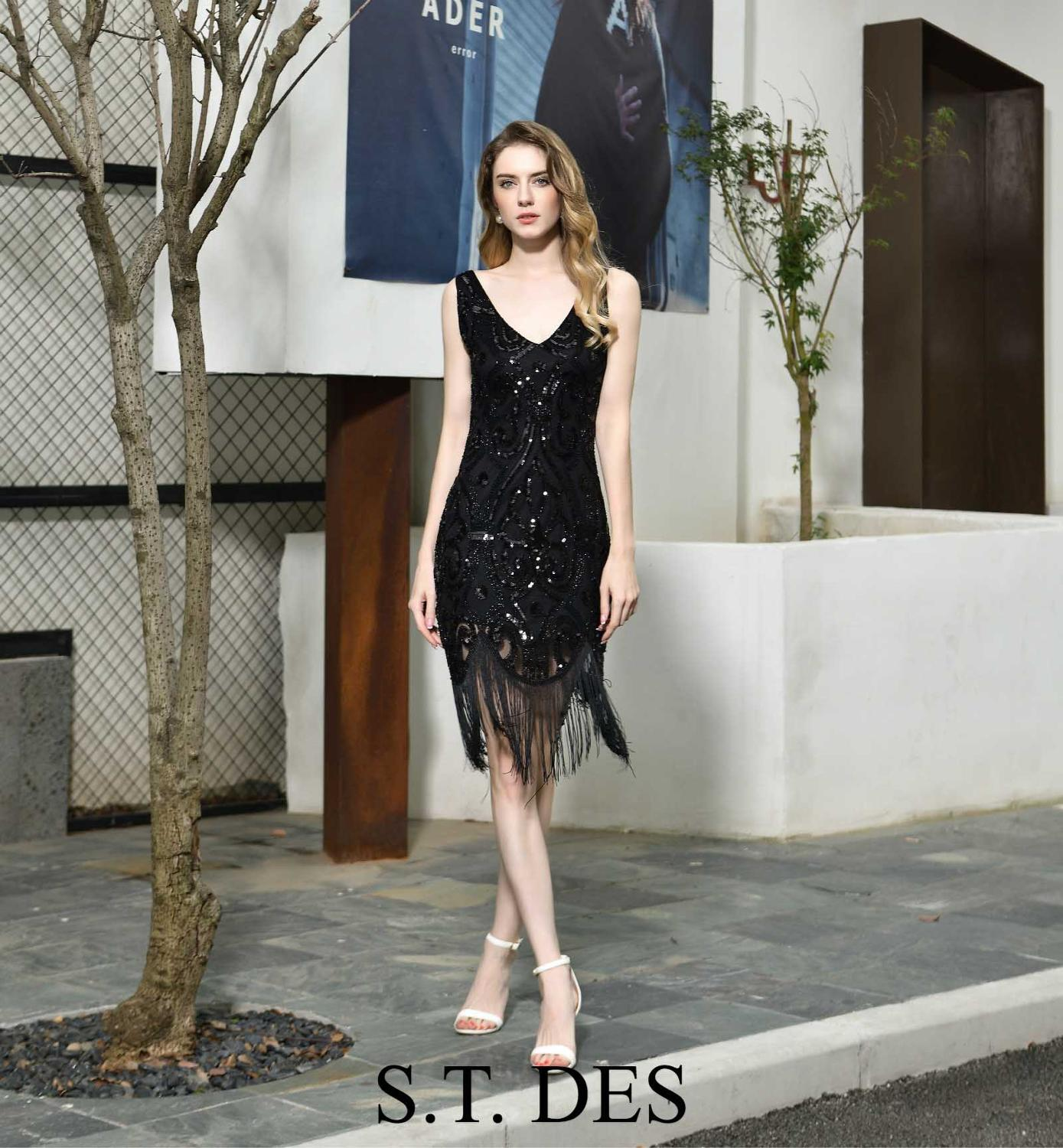 S.T.DES Evening Dress 2020 New Arrival Beading V-Neck Black Sleeveless Designer Knee Length Party Dress Dinner Gowns