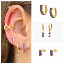 Boucles d'oreilles pendentes Micro Pave en argent Sterling 100% S925, bijoux fins en cristal violet romantique pour femmes et filles, cadeau
