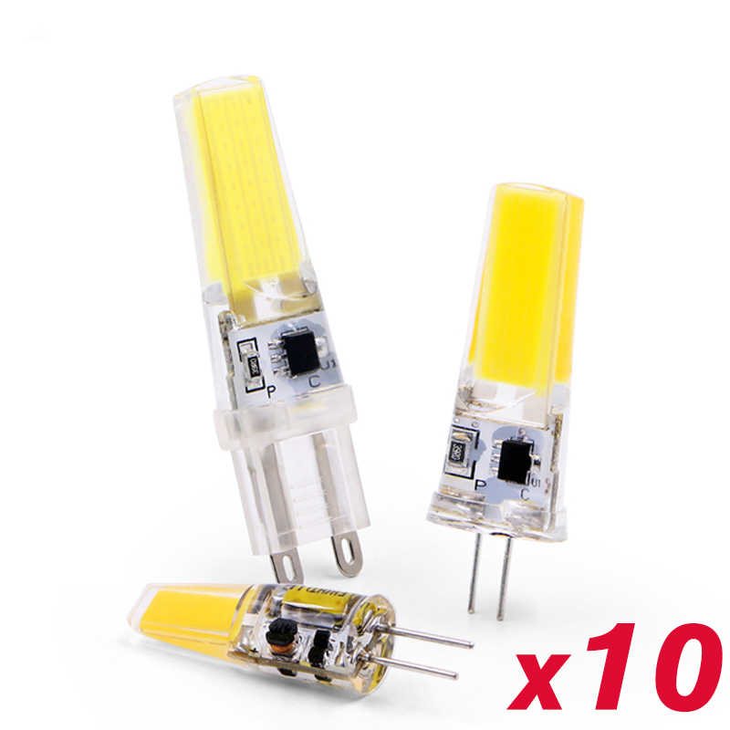 10PCS/lot LED Lamp Bulb G4 G9 E14 Dimming 220V 6W 9W COB SMD LED replace Halogen Chandelier Lamps