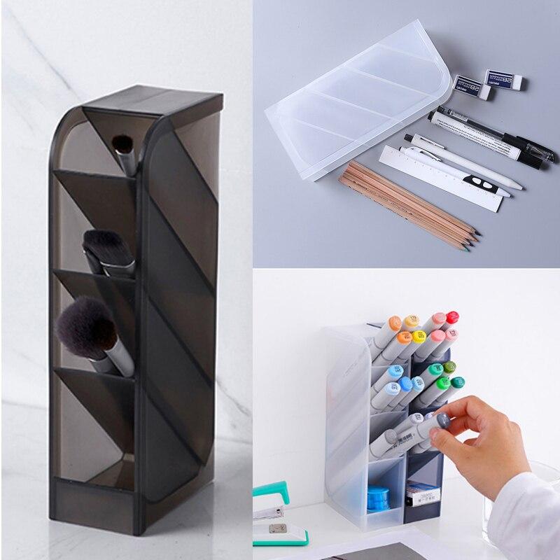 Multi-function 4 Grid Desk Pen Pencil Organizer Holder Storage Plastic Box Cosmetic Storage Pen Case