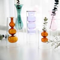 Nordic hydroponic multicolour glass vase Creative double layer transparent art Small flower vases Desktop crafts home decorat