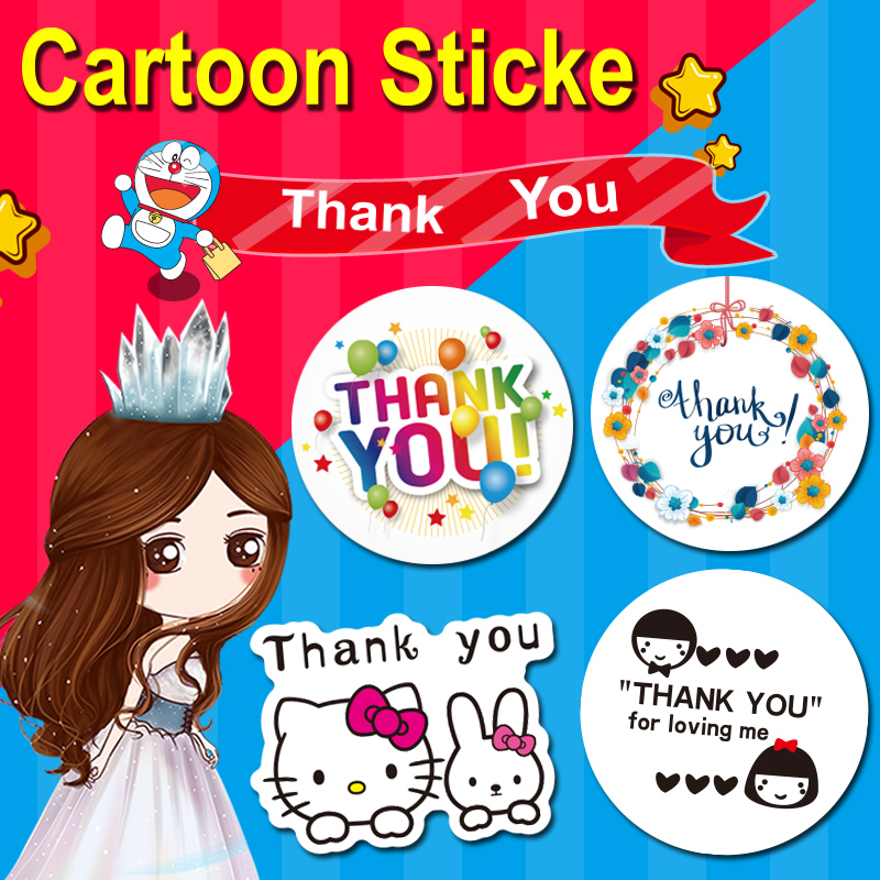100PCS 3X3CM Thank You Cartoon Creative Stickers Packaging Stationery Label Sealing Self-adhesive Handmade Products Baking DIY