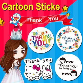 100PCS 3X3CM Thank you cartoon creative stickers packaging stationery label sealing self-adhesive handmade products baking DIY jwhcj creative arts font thank you