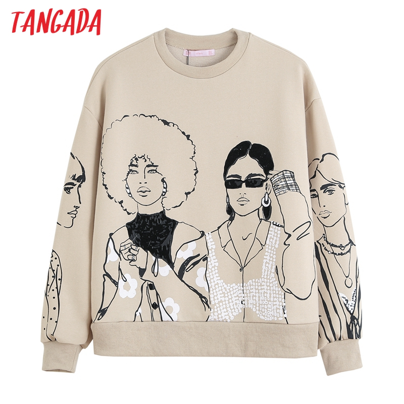 Permalink to Tangada Women Charater Print Gray Sweatshirts Oversize Long Sleeve O Neck Loose Pullovers Female Tops 4H1