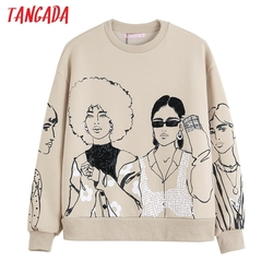 Tangada Women Charater Print Gray Sweatshirts Oversize Long Sleeve O Neck Loose Pullovers Female Tops 4H1