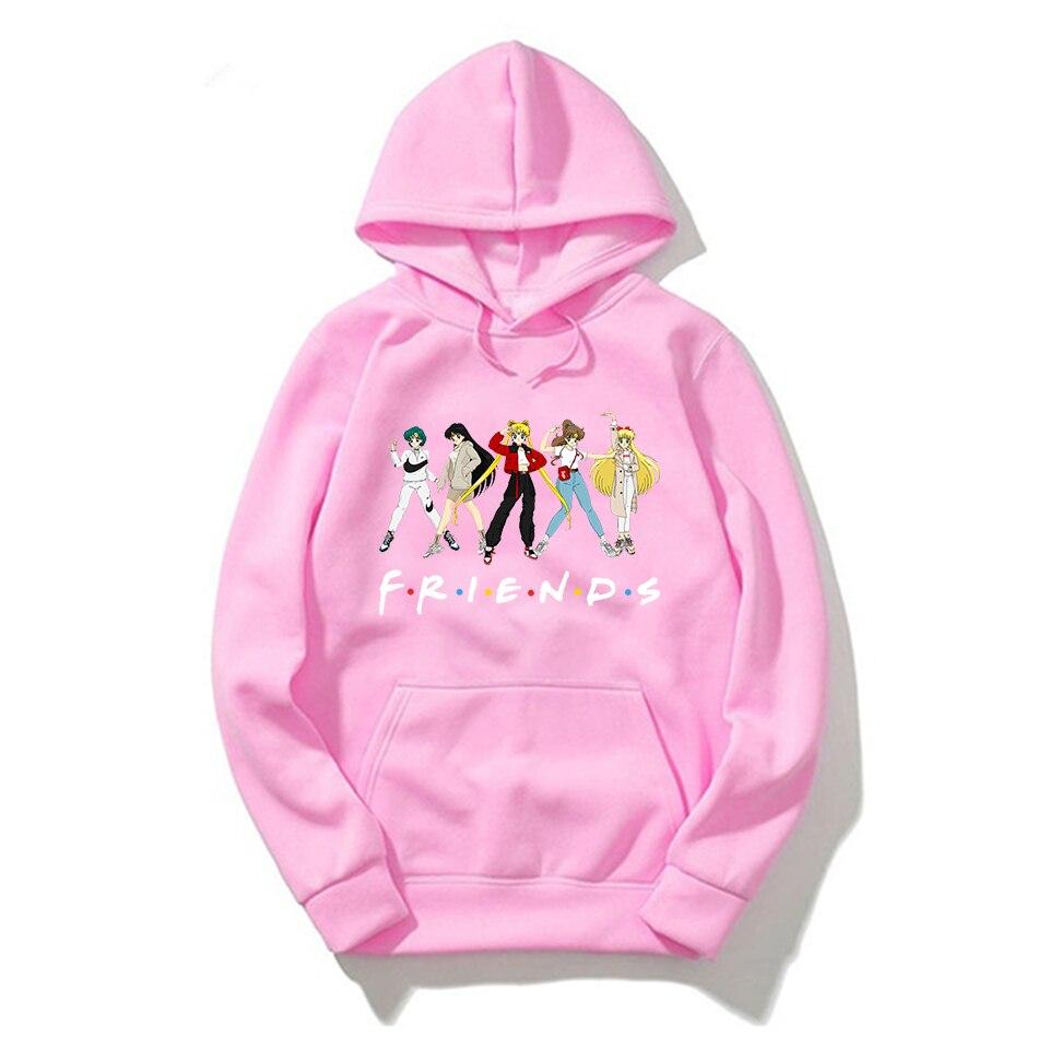 Hooded Sweatshirt Hoodies Women Friends Sailor Moon Hoodie Pink Clothing Men Polerone Winter Pullover Sweatshirt Harajuku Shirt
