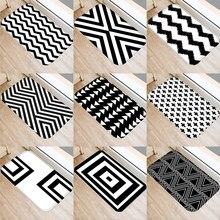 Классические черные и белые коврики с геометрическим принтом для ванной и кухни, Противоскользящие коврики для гостиной 48231
