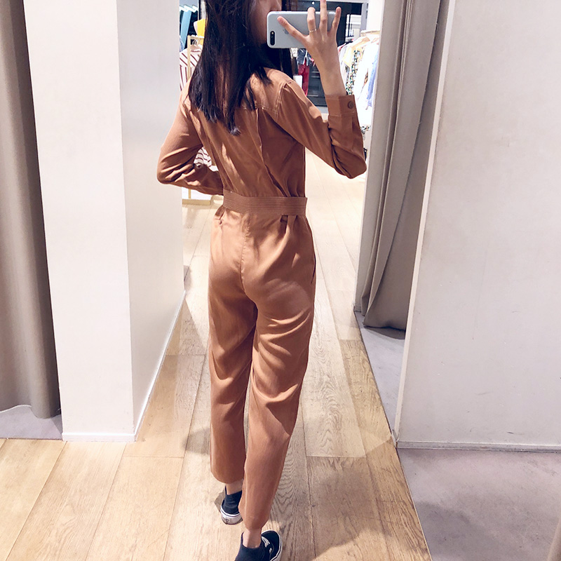 2019 Shirt Collar Women's Jumpsuit Slim Long Pants Pocket Buckle Decoration Long Sleeve Rompers Casual Clothes With Belt