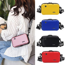 Newly Women Mini Suitcase Shape Crossbody Bag Shoulder with Wide Letter Strap Clutch Box AELNN297