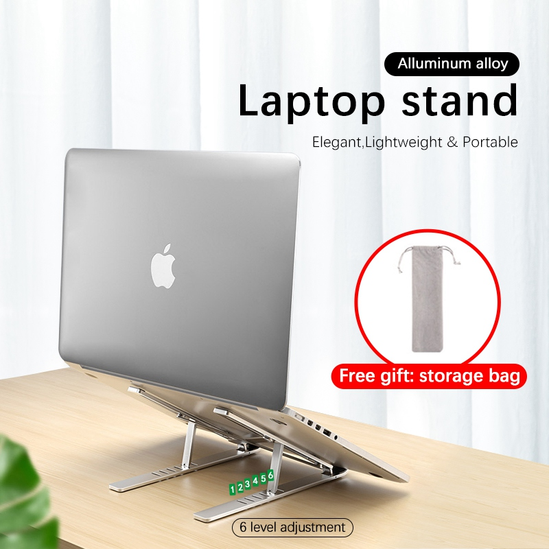 Aluminum Alloy Laptop Stand 6-level Heights Laptop Accessories for Macbook Pro Air 9-18 inch Laptop Holder Notebook Riser(China)