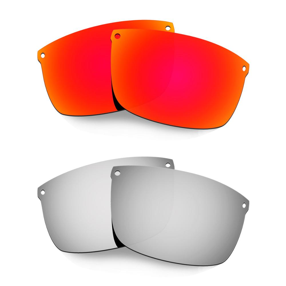 HKUCO For Carbon Blade Sunglasses Polarized Replacement Lenses 2 Pairs Red & Silver