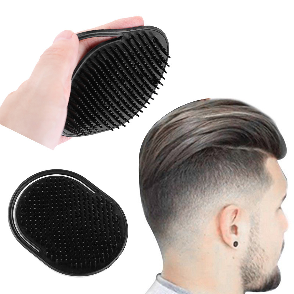 Hand Pocket Comb Brush Men Hair Combs Scalp Massager For Travel Black Palm Size