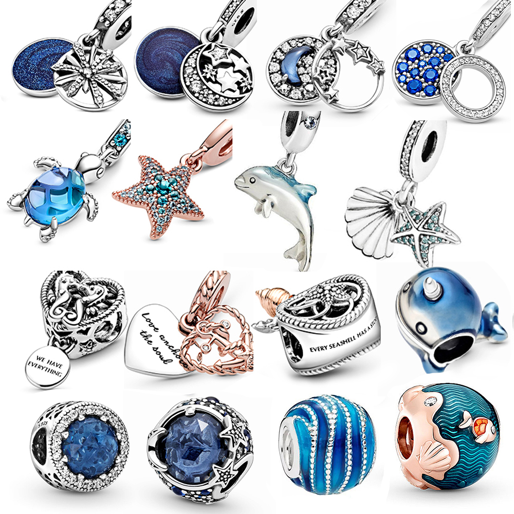 Summer Ocean Series s925 silver color charms fit pandora charms bracelet for women s925 beads