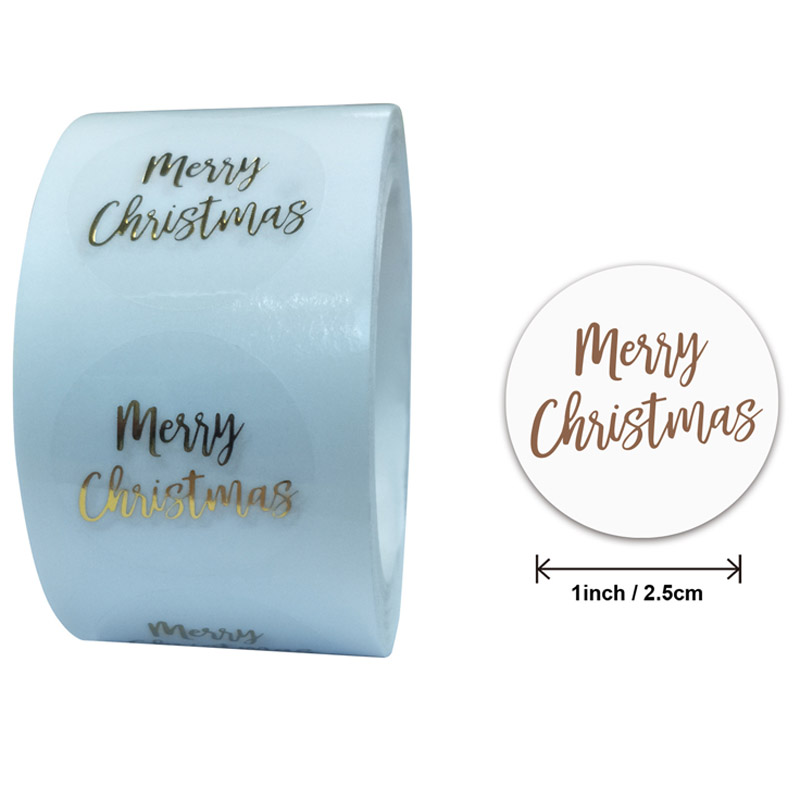 50-500pcs Round Clear Merry Christmas Stickers Thank You Card Box Package Label Sealing Stickers Wedding Decor Sticker