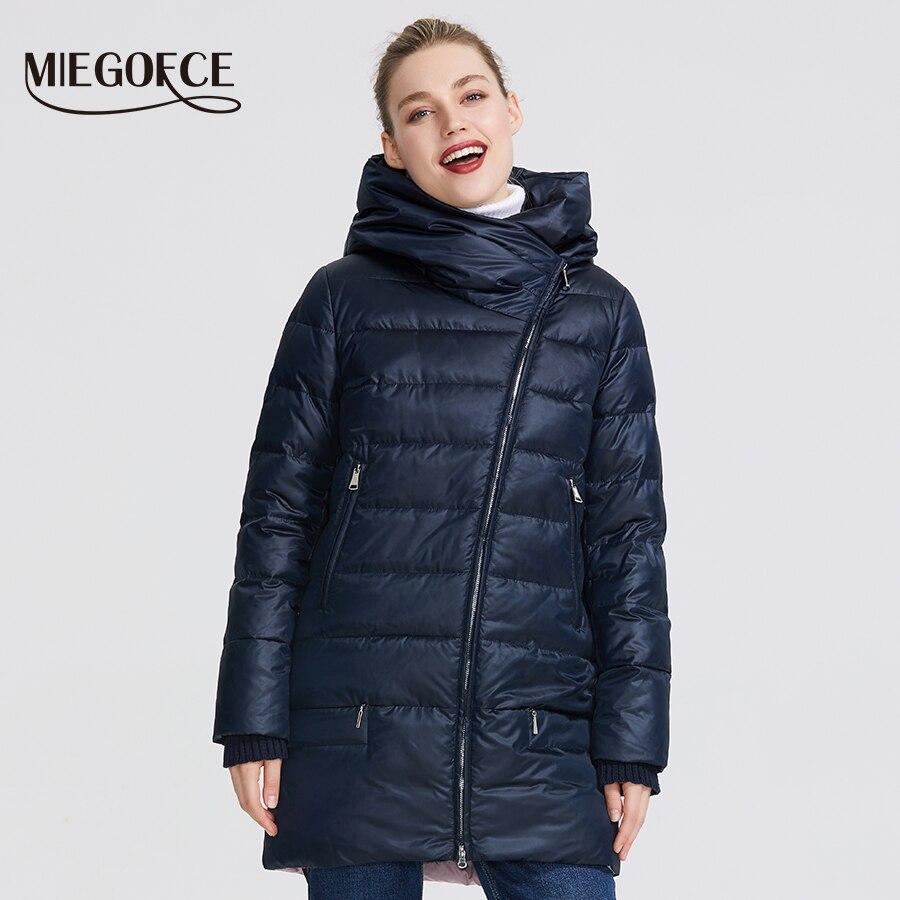 Miegofce 2019 겨울 여성 컬렉션 여성 따뜻한 자켓 여성 코트와 재킷 겨울 방풍 스탠드 칼라 후드-에서파카부터 여성 의류 의  그룹 2