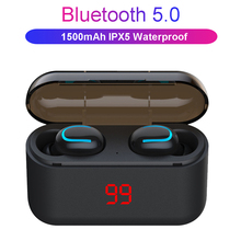 Tws bateria sem fio display fone de ouvido bluetooth handsfree fones esporte à prova dwaterproof água jogos fone de ouvido telefone