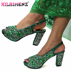Image 2 - 2019 Christmas Restriction African Women Shoes Matching Bag in Green Color High Quality Italian Ladies Comfortable Heels For Par