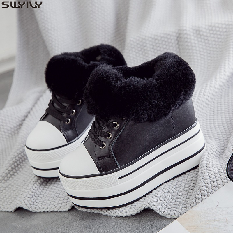 SWYIVY Wool Fur Winter White Shoes Platform Snow Boots Women Casual Winter Shoes Female 2019 Ankle Boots Sneakers For Women Shoe