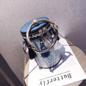 Image 1 - PUBGS Bolsos de hombro tipo bandolera a la moda para mujer, bolsos de paja portátiles con lámpara de cubo y borla de estilo nacional a rayas, 2019
