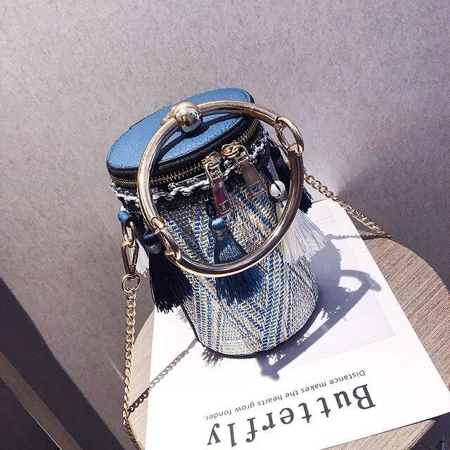 PUBGS Bolsos de hombro tipo bandolera a la moda para mujer, bolsos de paja portátiles con lámpara de cubo y borla de estilo nacional a rayas, 2019