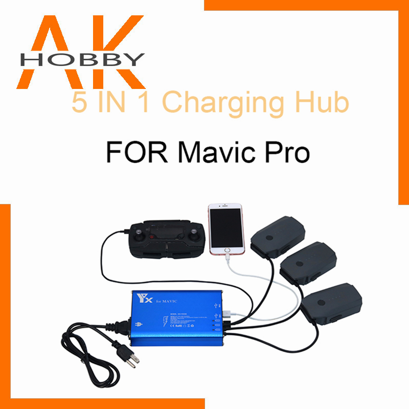 For DJI Mavic 5 in 1 Battery Charger Hub For DJI Mavic 2 Pro Zoom Drone Remote Controller Battery SmartPhone Charging Hub