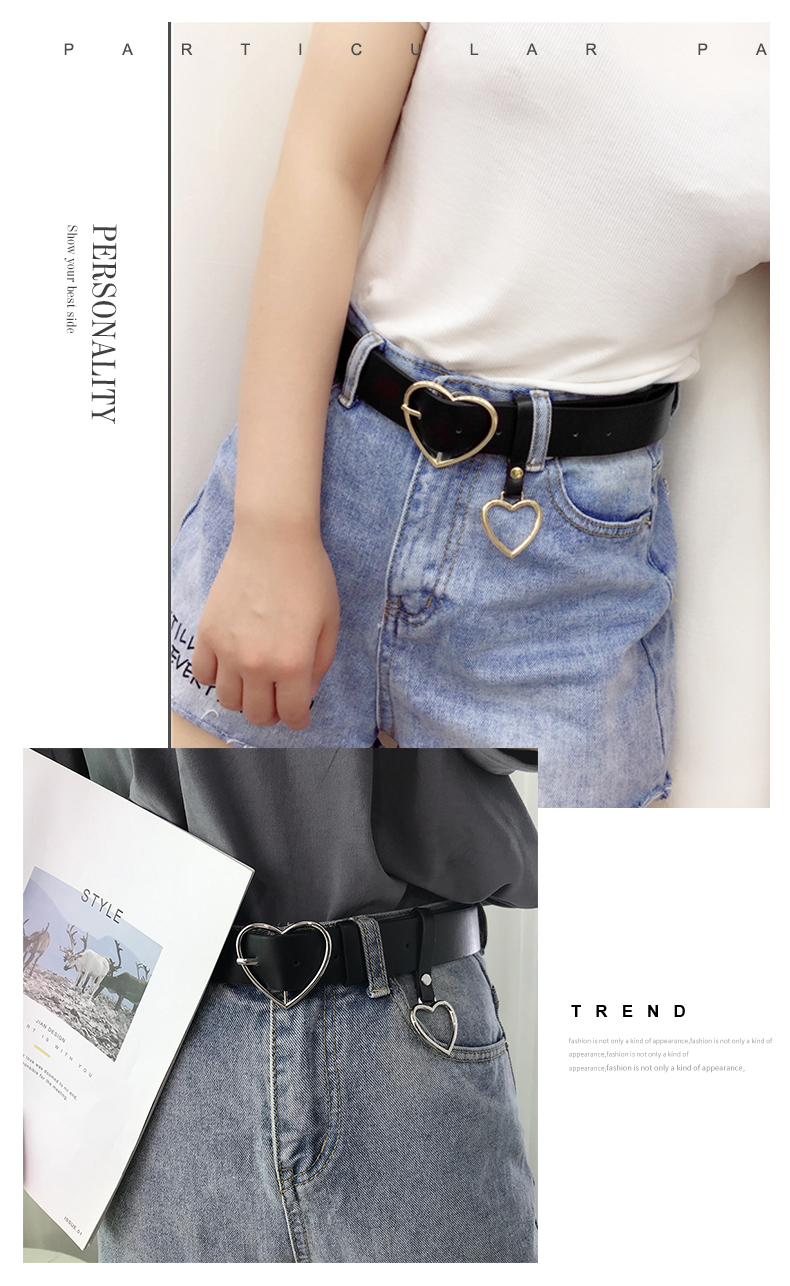 JIFANPAUL New sweetheart Buckle with Adjustable Ladies Luxury Brand Cute Heart-shaped Thin Belt