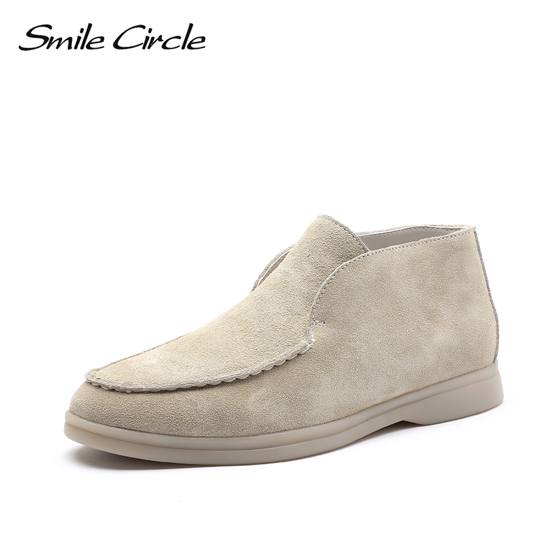 Smile Circle/Spring Ankle Boots Women Genuine Leather Nude Flats Casual Shoes Slip-On Penny Loafers Autumn Ladies Lazy Shoes