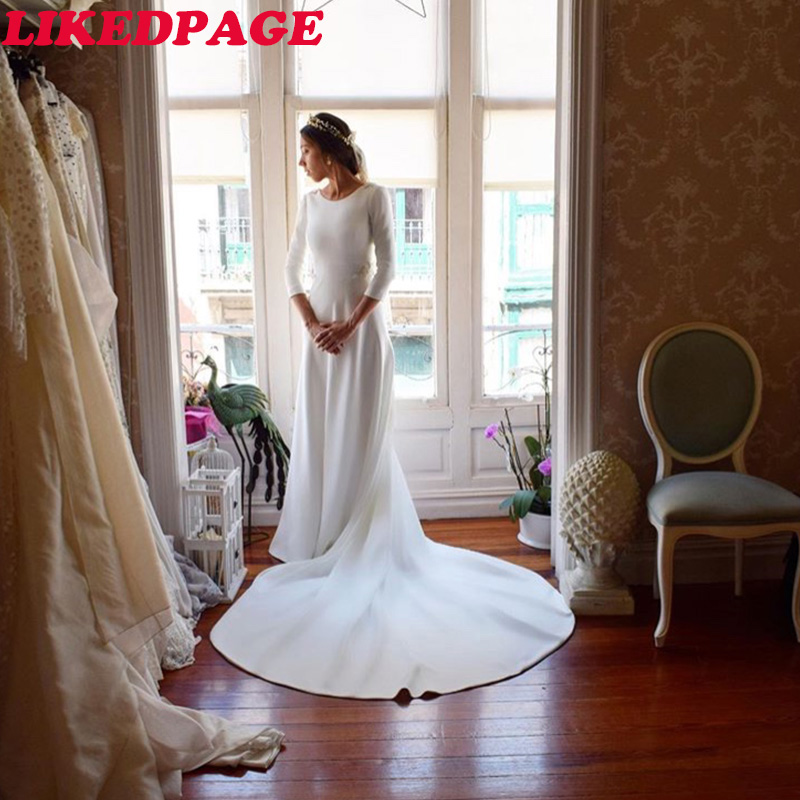 LIKEDPAGEThree Quarter Length Sleeves Wedding Dress Scoop Neck Appliques Major Beading Bridal Gowns Backless Bride Dresses