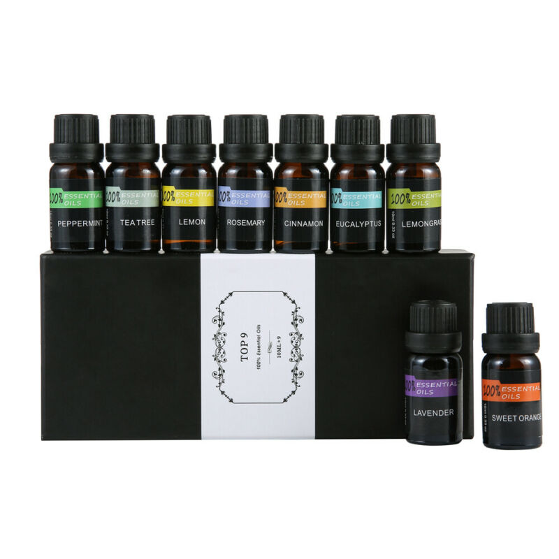 10ML Top 9/Set Essential Oil Gift - Best 9 Aromatherapy Oil Therapeutic Grade Pure High Purity Essential Oil @11