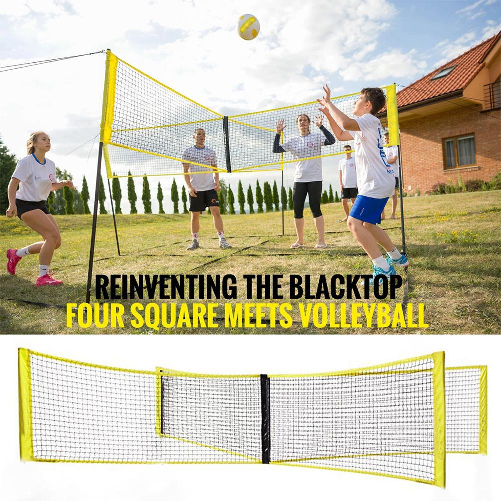 Four-sided Cross Volleyball Net Standard Volleyball Net Portable Four-sided Cross Four-sided Beach Volleyball Net PE Material