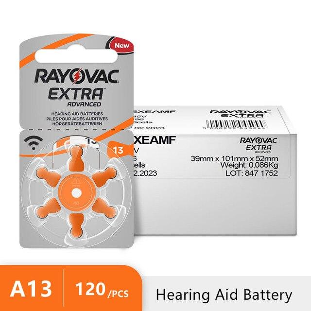 120 PCS RAYOVAC EXTRA di Zinco Aria Prestazioni Batterie per Apparecchi Acustici A13 13A 13 P13 PR48 Hearing Aid Batteria A13 Trasporto trasporto libero