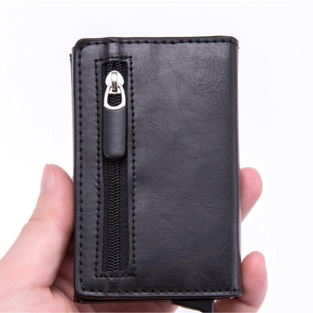 Magnet Rfid Blocking Card Holder Women Men Wallets Thin Slim Wallets Leather Coin Purse Small Male Black Mini Wallet portomonee 2