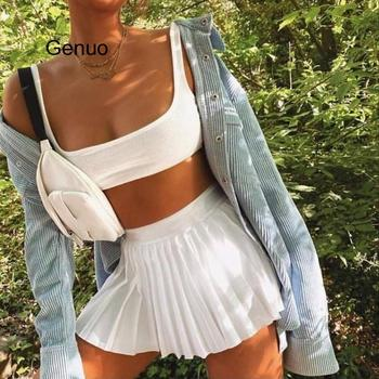 A-line Miniskirt Fresh High Waist With Leggings Solid Color Ruffle Casual Skirt Campus Style Skirt Summer 2020 New knot side ruffle skirt