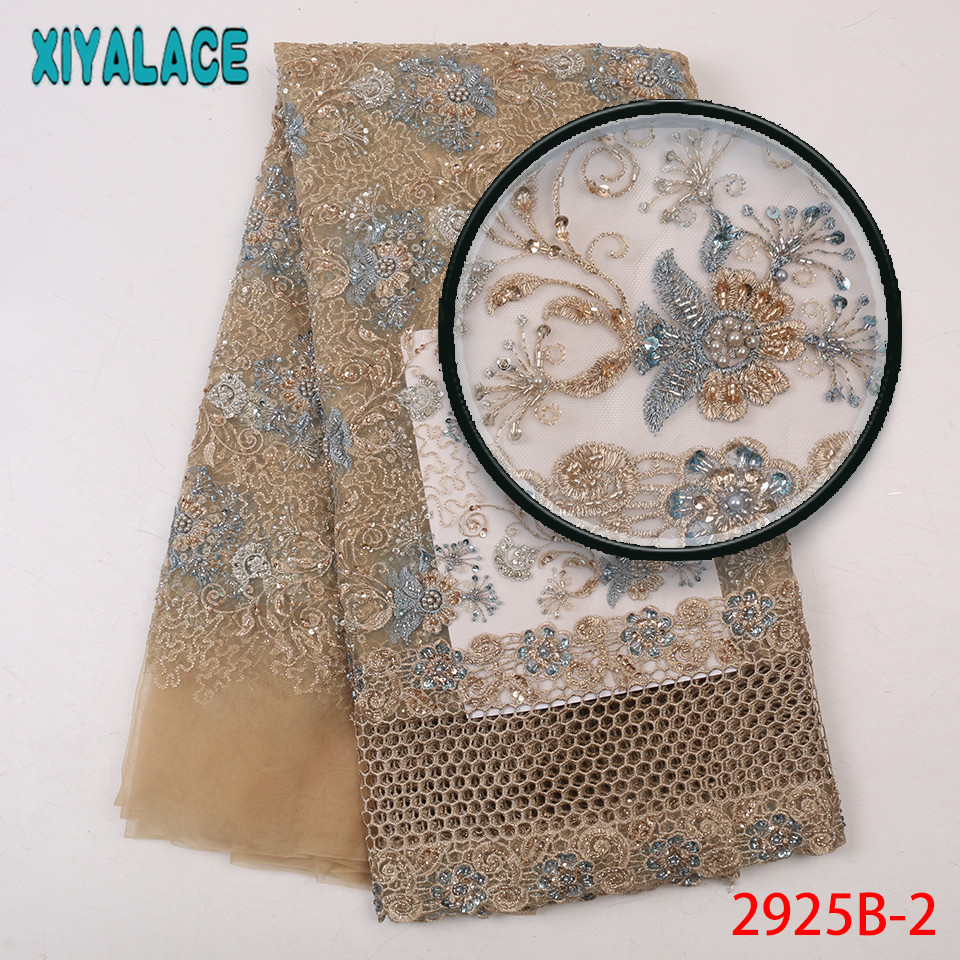 Heavy Beaded Lace Fabric Wedding,Newest Lace Material For Dresses,French Tulle Net Lace With Beads KS2925B-2