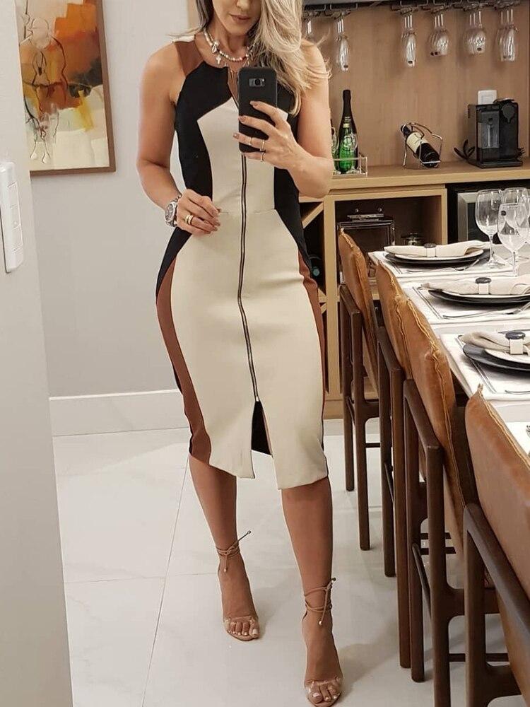 Купить 2020 новое модное женское цветное платье карандаш без рукавов