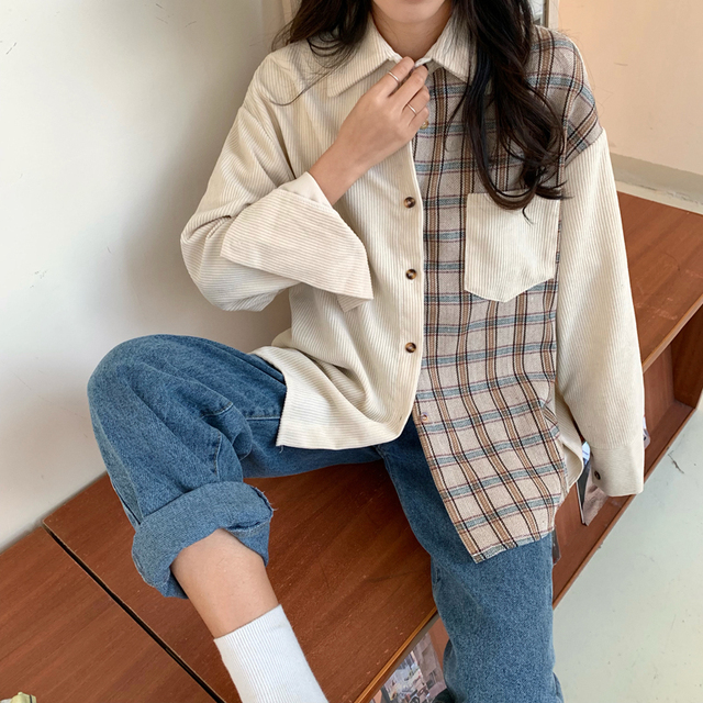 harajuku corduroy blouse women long sleeve autumn new tops and blouses casual vintage streetwear cargo shirts camisas mujer 2