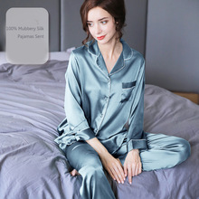 100% Silk Pajamas For Women Natural Real Silk Pajamas  Set  Female Summer Pijamas  long-sleeved Home Suit  Blue Luruxy  19MM