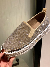 2019 Rhinestone Women Flats Leather Loafers Spring Women Casual Shoes Flat Comfortable Slip on Moccasins Zapatos Mujer QW-31(China)