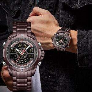 Image 2 - NAVIFORCE reloj deportivo de lujo para hombre, cronógrafo militar, resistente al agua, con retroiluminación, de cuarzo Digital, Masculino