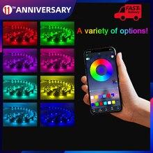 O rgb 5050 conduziu as luzes de tira waterproof a música usb/bt/app controlou 16 milhões de cores autoadesivas cuttable para a festa de natal de