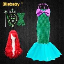 Платье принцессы Ариэль для девочек, летнее платье для вечеривечерние в бассейне, косплея маленькой Русалочки, детское пляжное платье с отк...