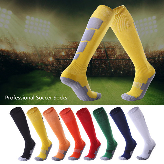 Men Women Professional Sports Football Socks Knee-high Compression towel Wear-resisting Breathable Leggings stocking Soccer Sock