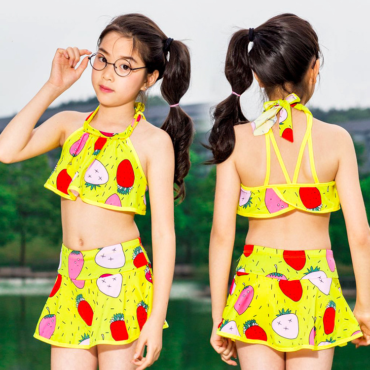 Cute Beautiful Girls Fruit Pattern Split Type Tour Bathing Suit Light And Comfortable Children Beach Two-piece Swimsuits